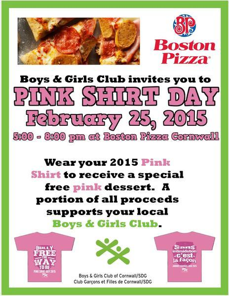 Boston Pizza Pink Shirt Day